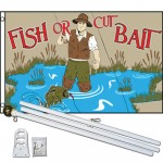 Fish Or Cut Bait 3' x 5' Polyester Flag, Pole And Mount