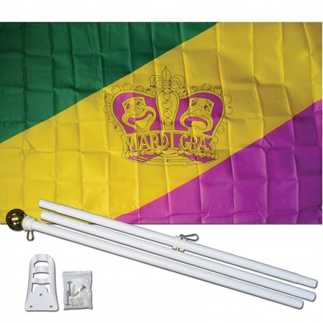 Mardi Gras Crown 3' x 5' Polyester Flag, Pole and Mount