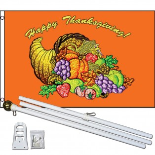 Happy Thanksgiving 3' x 5' Polyester Flag, Pole and Mount