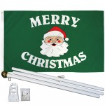 Merry Christmas Green 3' x 5' Polyester Flag, Pole and Mount