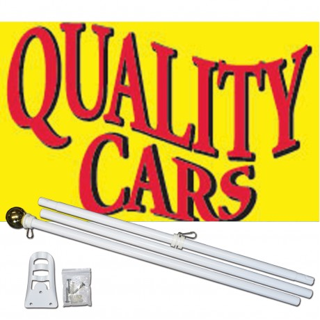 Quality Cars Yellow Red 3' x 5' Polyester Flag, Pole and Mount