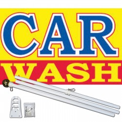 Car Wash Yellow 3' x 5' Polyester Flag, Pole and Mount
