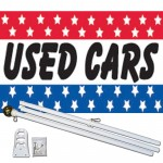 Used Cars Patriotic Stars 3' x 5' Polyester Flag, Pole and Mount