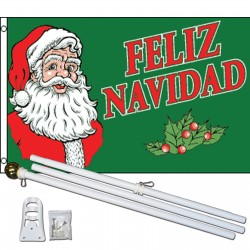 Feliz Navidad Santa 3' x 5' Polyester Flag, Pole And Mount