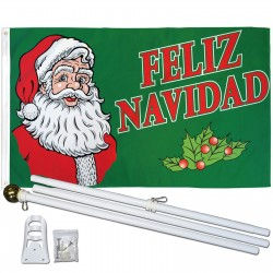 Feliz Navidad Santa 3' x 5' Polyester Flag, Pole And Mount