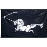 Unicorn Black 3' x 5' Polyester Flag