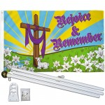 Easter Rejoice & Remember 3' x 5' Polyester Flag, Pole and Mount