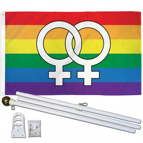 Double Venus Rainbow 3' x 5' Polyester Flag, Pole and Mount