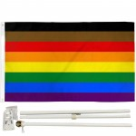 Philly Rainbow Pride 3' x 5' Polyester Flag, Pole and Mount