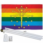 Indiana Rainbow Pride 3' x 5' Polyester Flag, Pole and Mount