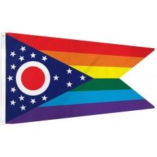 Ohio Rainbow Pride 3' x 5' Polyester Flag