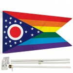 Ohio Rainbow Pride 3' x 5' Polyester Flag, Pole and Mount