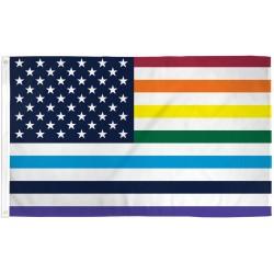 USA Old Glory Rainbow Pride 3' x 5' Polyester Flag