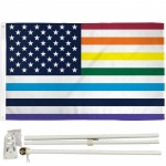 USA Old Glory Rainbow Pride 3' x 5' Polyester Flag, Pole and Mount
