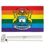 Michigan Rainbow Pride 3' x 5' Polyester Flag, Pole and Mount