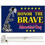Memorial Day Honor The Brave 3' x 5' Polyester Flag, Pole and Mount