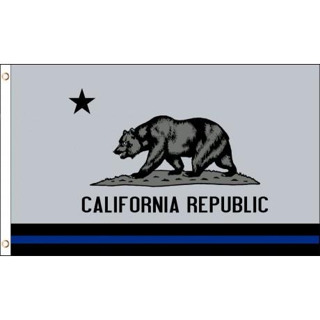 Thin Blue Line California Republic 3' x 5' Polyester Flag