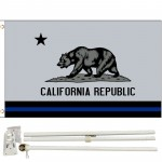 Thin Blue Line California Republic 3' x 5' Polyester Flag, Pole and Mount