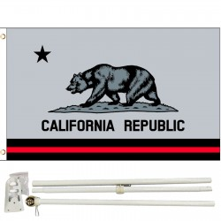 Thin Red Line California Republic 3' x 5' Polyester Flag, Pole and Mount