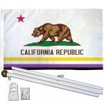 California Republic Non-Binary 3' x 5' Polyester Flag, Pole and Mount