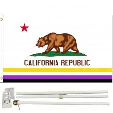 Non-Binary California Republic 3' x 5' Polyester Flag, Pole and Mount