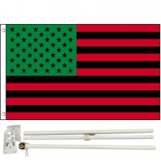 Afro American USA 3' x 5' Polyester Flag, Pole and Mount