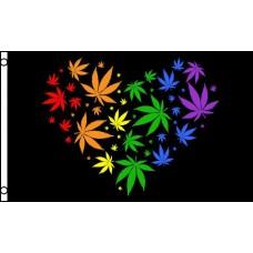 Marijuana Love Rainbow 3' x 5' Polyester Flag