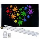 Marijuana Love Rainbow 3' x 5' Polyester Flag, Pole and Mount