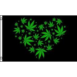 Marijuana Love Black Green 3' x 5' Polyester Flag