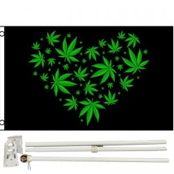 Marijuana Love Black Green 3' x 5' Polyester Flag, Pole and Mount