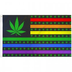 Marijuana USA Rainbow 3' x 5' Polyester Flag