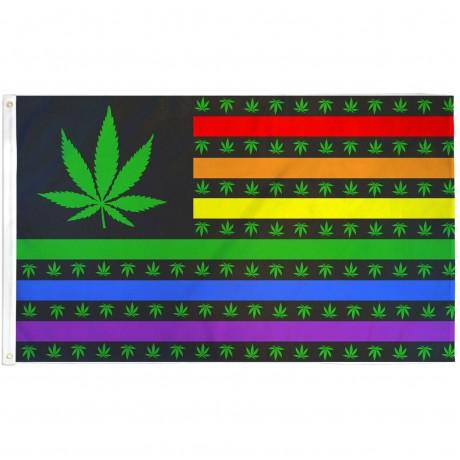 Marijuana USA Rainbow 3' x 5' Polyester Flag