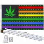 Marijuana USA Rainbow 3' x 5' Polyester Flag, Pole and Mount