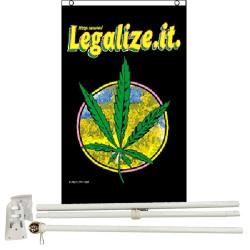 Marijuana Legalize It 3' x 5' Polyester Flag, Pole and Mount