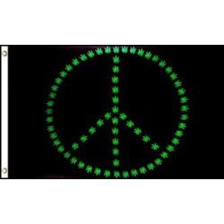 Marijuana Peace Sign 3' x 5' Polyester Flag