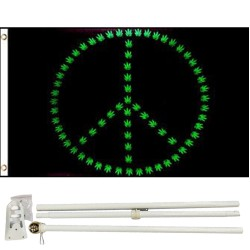 Marijuana Peace Sign 3' x 5' Polyester Flag, Pole and Mount