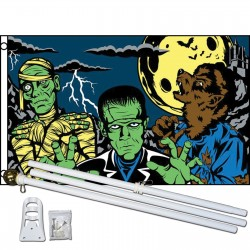 Fright Night 3' x 5' Polyester Flag, Pole and Mount