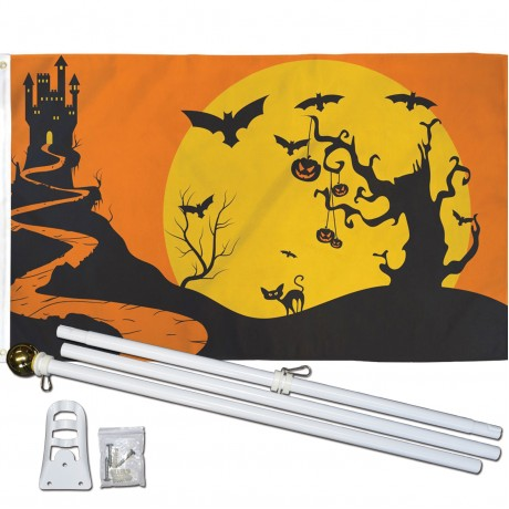 Halloween Castle Bats 3' x 5' Polyester Flag, Pole and Mount