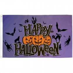 Happy Halloween Purple 3' x 5' Polyester Flag