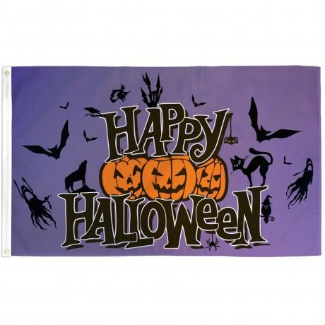 Happy Halloween Purple 3' x 5' Polyester Flag