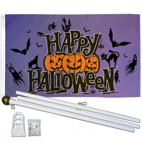 Happy Halloween Purple 3' x 5' Polyester Flag, Pole and Mount