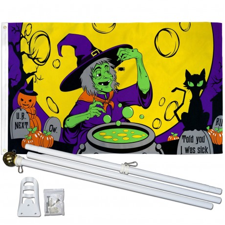 Witch's Brew 3' x 5' Polyester Flag, Pole and Mount