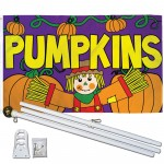 Pumpkins Scarecrow 3' x 5' Polyester Flag, Pole and Mount