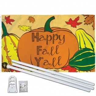 Happy Fall Y'all 3' x 5' Polyester Flag, Pole and Mount