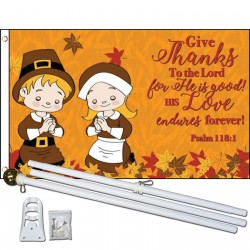 Give Thanks 3' x 5' Polyester Flag, Pole and Mount