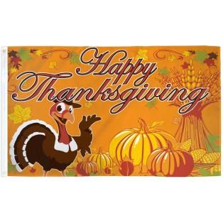 Happy Thanksgiving Turkey 3' x 5' Polyester Flag