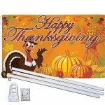 Happy Thanksgiving Turkey 3' x 5' Polyester Flag, Pole and Mount