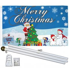 Merry Christmas North Pole 3' x 5' Polyester Flag, Pole and Mount
