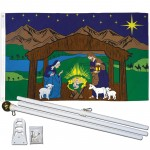 Nativity Scene Christmas 3' x 5' Polyester Flag, Pole and Mount