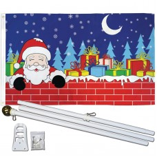 Christmas Eve Santa Presents 3' x 5' Polyester Flag, Pole and Mount